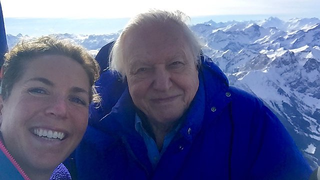 <p>Dr Lucy Obolensky&nbsp;and Sir David Attenborough above The Alps in BBC Planet Earth II</p>