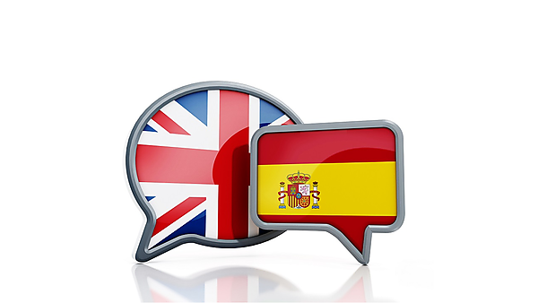 <p>Speech balloons with British and Spanish flags representing English to Spanish translation.<br></p>
