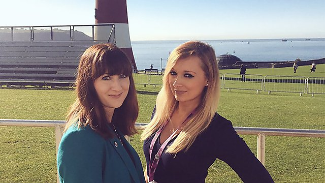 <p>On the Plymouth Hoe with former Alumni team colleague Sam</p>