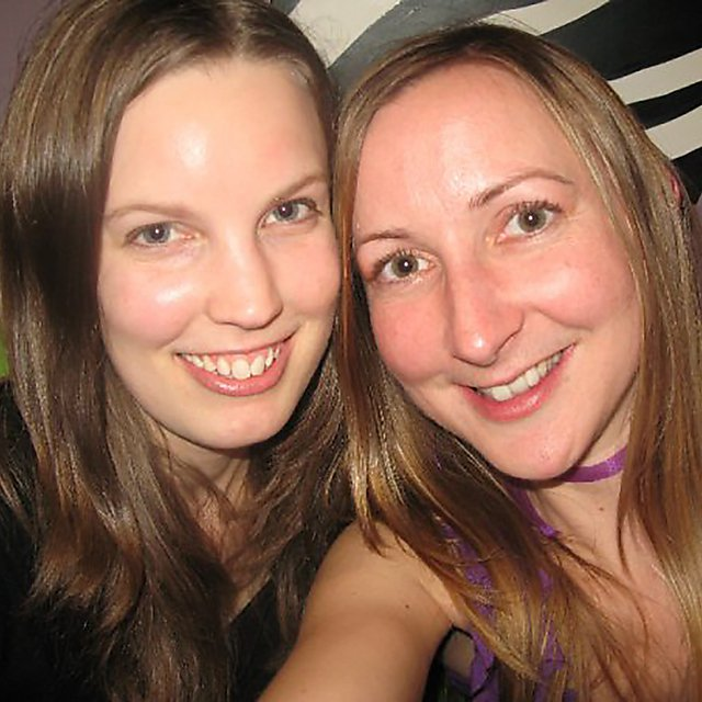 <p>Rebecca with her colleague Lou</p>