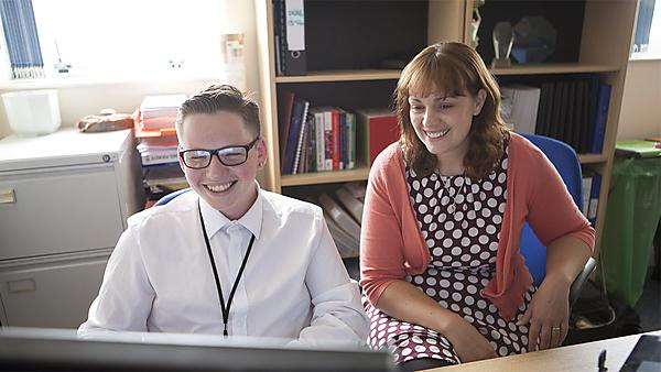 <p>Internship student Kane Baser working in Employability Service with Sarah Facy<br></p>