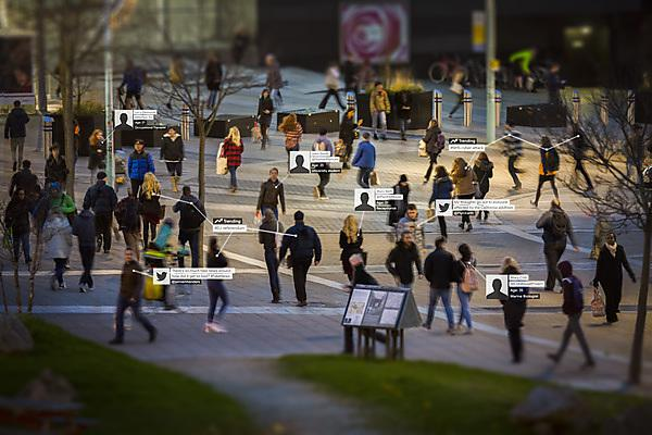<p>People walking outside Drake Circus with data</p>