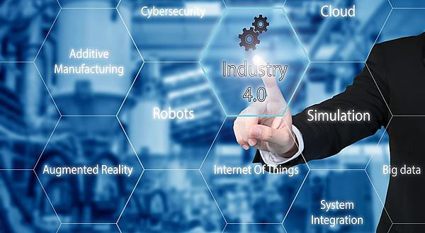 <p>Businessman touching industry 4.0 icon showing data of smart factory.<br></p>