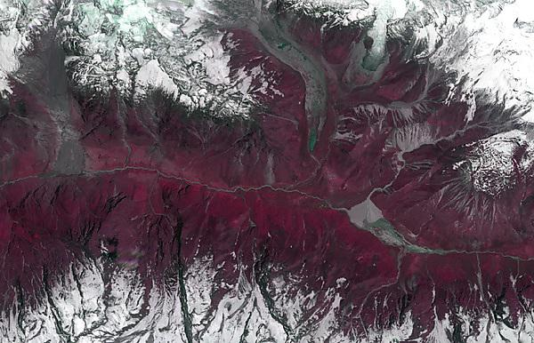 <p>A satellite image of the Langtang Valley in Nepal where Joshua Jones will be researching the causes and effects of landslides</p>