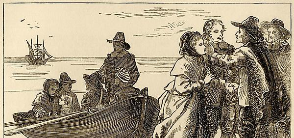 <p>The Pilgrim Fathers embarking on their journey to America in 1620 (from <i>Aunt Charlotte's Stories of English History for the Little Ones</i>&nbsp;by Charlotte M Yonge)</p>