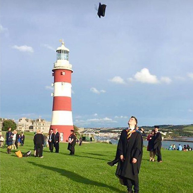 <p>Jonathan Hill, MSc Planning graduate – graduating on Plymouth Hoe<br></p>