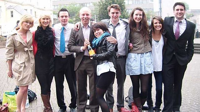 <p>Sam Gane with marketing course graduates on the day of their final ever exam <br></p>