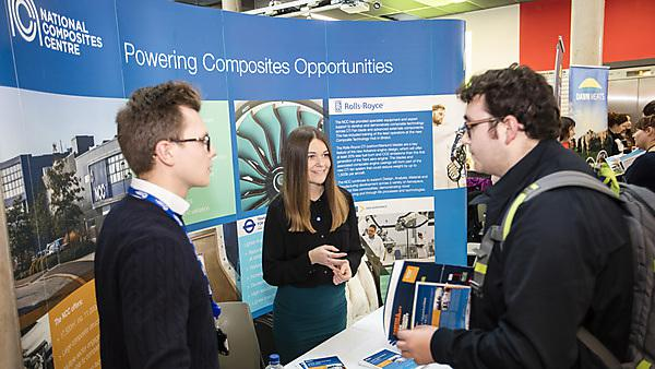 Francesca meeting students at a Careers Fair on campus