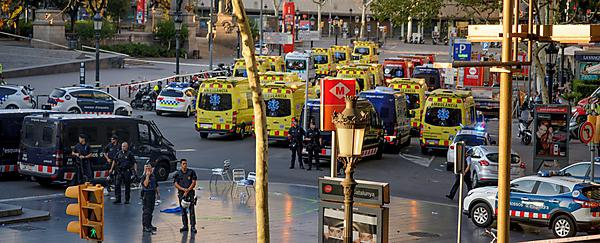 <p>Ambulance on the streets of Barcelona following a terrorist attack on the city in 2017 (Picture:&nbsp;jikatu via Wikimedia Commons)</p>