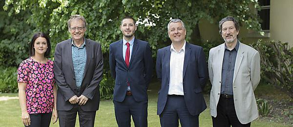 <p>Santander agreement May 2018. L-R: Rachel Brown, Jerry Roberts, Remy Foucher (Santander), Dafydd Moore, Kevin Jones.</p>