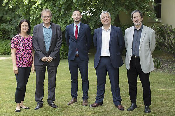<p>Santander celebration May 2018. Rachel Brown, Professor Jerry Roberts, Remy Foucher (Santander), Professor Dafydd Moore, Professor Kevin Jones.</p>