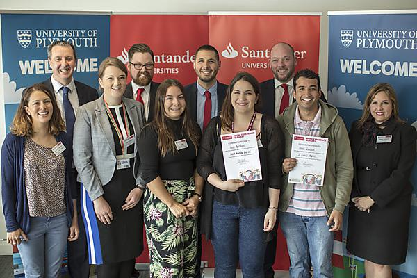 <p>Staff from Santander with members of the University's Careers and Employability team and students receiving work experience bursaries.</p>