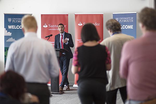 Santander's Remy Foucher gives a speech