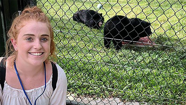 <p>Lianne Ottewell visiting the bears<br></p>