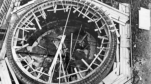 <p>On overhead view showing construction of the Planetarium, February 5, 1969</p>