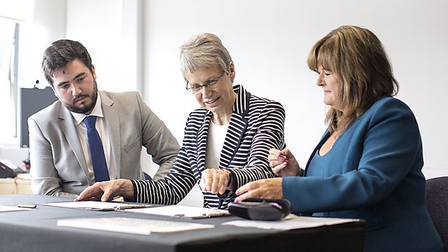 <p>Student Charter Signing 2018 - Alex Doyle, Judith Petts, Gina Connelly</p>