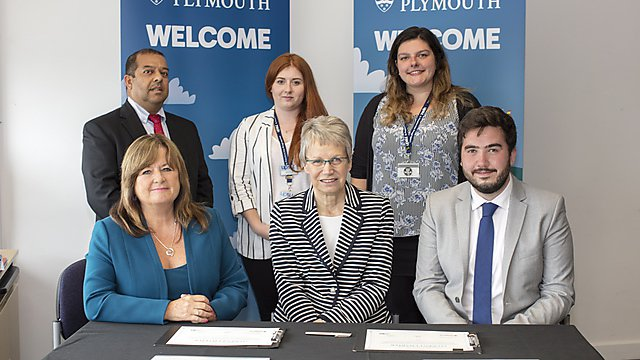 <p>  Student Charter Signing 2018 - back row: Julian Chaudhuri, Maja Smith, Lowri Jones. Front row: Gina Connelly, Judith Petts, Alex Doyle.<br></p>