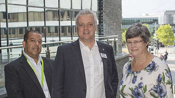<p>Vice-Chancellor's Teaching and Learning Conference 2018. (L-R) Professor Julian Chaudhuri Deputy Vice-Chancellor Education and Student Experience, Professor David Sadler from The University of Tasmania, Professor Pauline Kneale, Director of PedRIO Teaching and Learning Support<br></p>