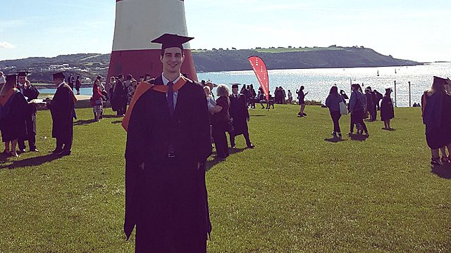 <p>Felipe Bastos at his graduation ceremony on Plymouth Hoe.<br></p>