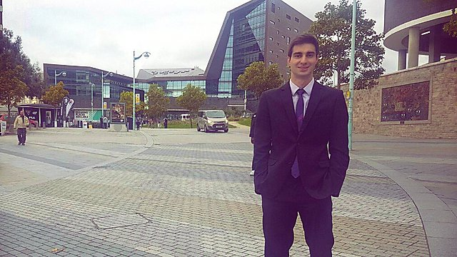 <p>Felipe Bastos in front of the Roland Levinsky Building in Plymouth.<br></p>
