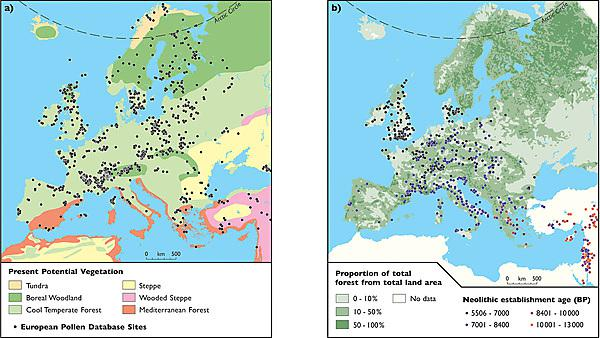 Potential natural vegetation of Europe and European Pollen Database sites, and remaining forest cover and spread of Neolithic farming.