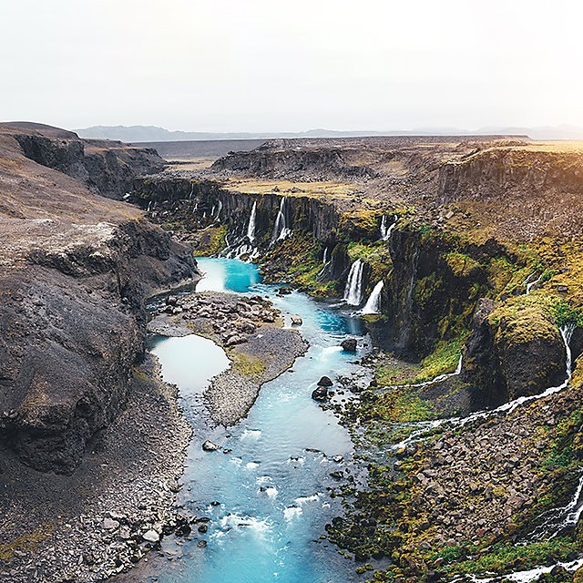 <p>Waterfalls at Sigöldugljúfur Canyon, Iceland<br></p>