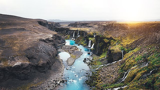 <p>Waterfalls at Sigöldugljúfur Canyon, Iceland<br></p>