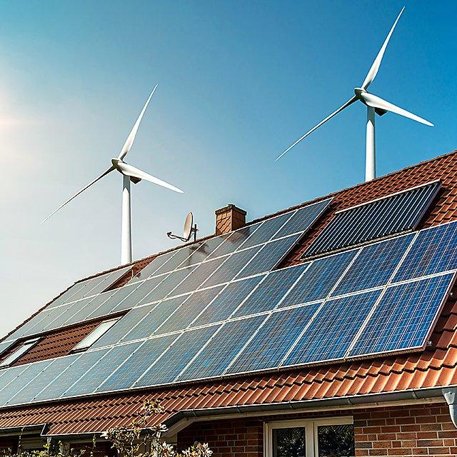 <p>Solar panels and wind turbines&nbsp;</p>