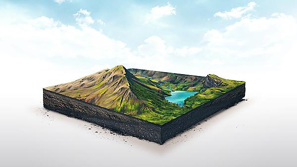 <p>3d illustration of a soil slice, high mountains with lake isolated on white background. Credit:  Khadi Ganiev, courtesy of Getty Images<br></p>