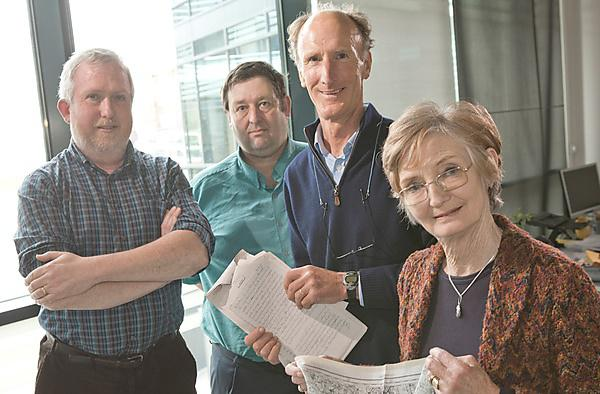 <p>Professor David McMullan, Dr Harry Bennett, Stephen Pryor and Dr Barbara Bond</p>