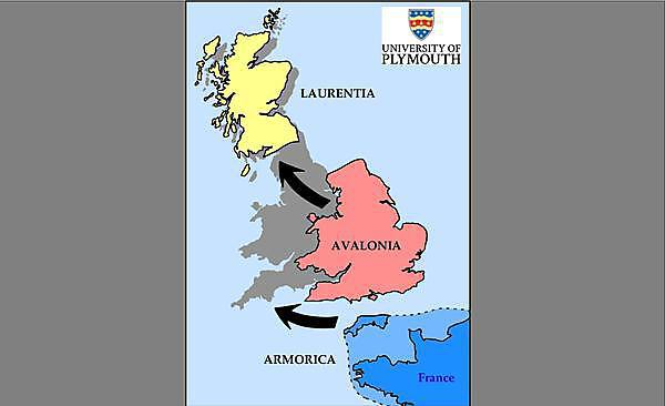 <p>A map showing how researchers now believe the British Isles might have formed</p>