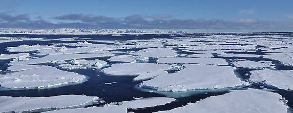 <p>Sea ice and open water off the coast of Svalbard (Credit Matthias Forwick)<br></p>