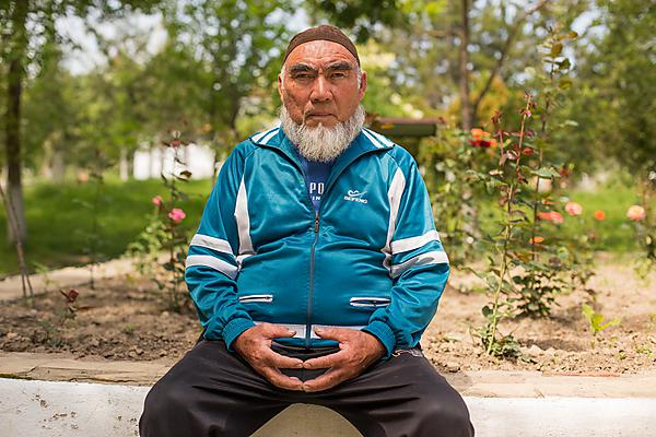 Patient at Krygyz Research Institute of Balneology and Recovery Treatment. This patient has dedicated his treatment to using rehab in an effort to overcome his disease. Image: Carey Marks