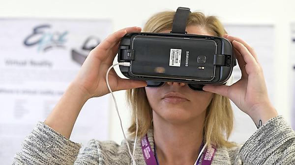 A Virtual Reality headset in use