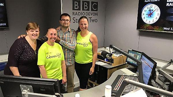 Ros (far right) with Michael Chequer at the BBC Radio Devon studios.