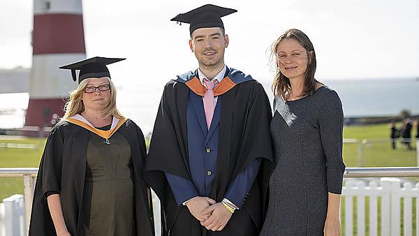 Media Arts graduating student, Jake Giddy, receiving The Moment Digital Media Award from Head of Production, Alice Kilpatrick (right). Jake was also awarded Media Arts Student of the Year by Programme Leader, Phaedra Stancer (left).