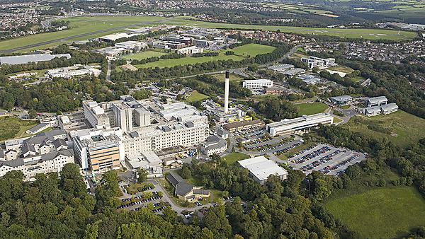 Aerial view of Derriford Hospital, John Bull Building (PUPSMD) and Plymouth Science Park