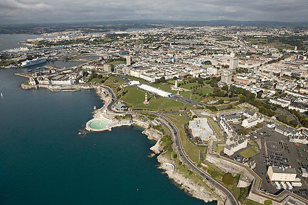 Plymouth Sound and Hoe with graduation marquees