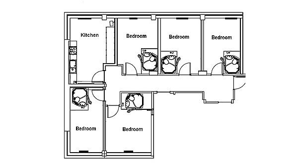 Each flat in Mary Newman Halls consists of five or ten en suite rooms with a shared kitchen/dining area.