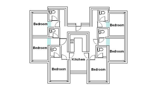 Each flat in Robbins Hall consists of four to eight rooms and a shared kitchen area