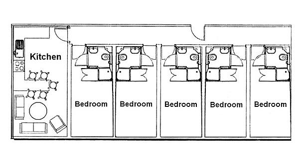 Each flat in Alexandra Works consists of five or six en suite rooms with a shared kitchen/dining area.*
