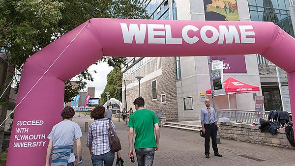 New students arriving at Plymouth University