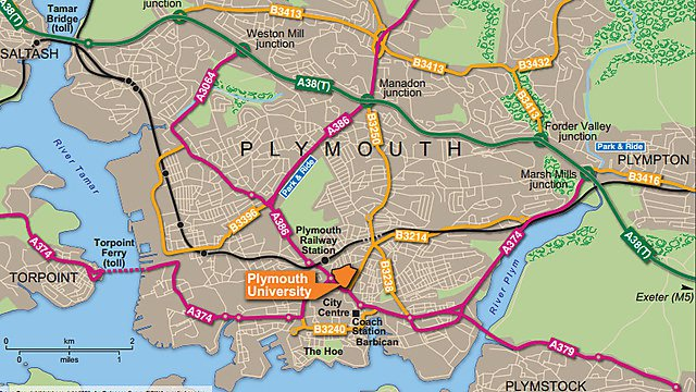 Plymouth route map
