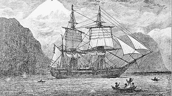 <p>  HMS <i>Beagle</i>&nbsp;in the Straits of Magellan&nbsp;at Monte Sarmiento, reproduction of R. T. Pritchett's frontispiece from the 1890 illustrated edition of The Voyage of the Beagle. (Wiki Commons)<br></p>