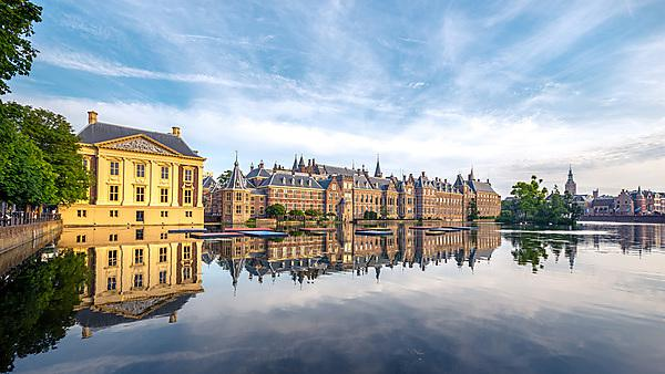 <p>The Hofvijver Pond (Court Pond) with the Binnenhof complex in The Hague, Netherlands. Credit: Gatsi, courtesy of Getty Images<br></p>