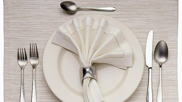 <p>Empty Dinner Plate, Knife, and Fork</p>