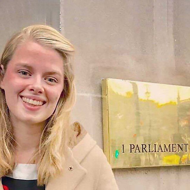 <p>Imogen Napper giving expertise in Parliament about plastic pollution from clothing</p>