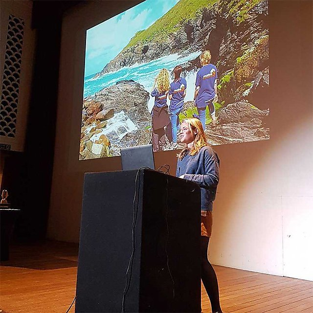 <p>Imogen Napper&nbsp;giving a talk at the Marine Conservation Society AGM</p>