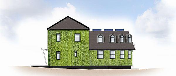 <p>South elevation of the Sustainability Hub (Kirkby Lodge)</p>