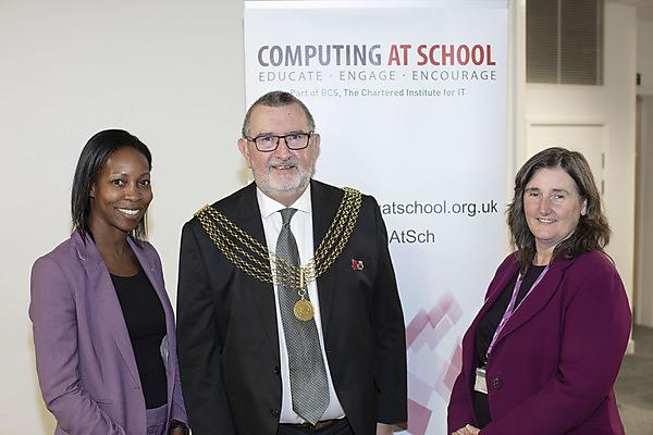 <p>From left: Beverly Clarke, Lord Mayor of Plymouth Cllr Sam Davey and Dr Shirley Atkinson</p>